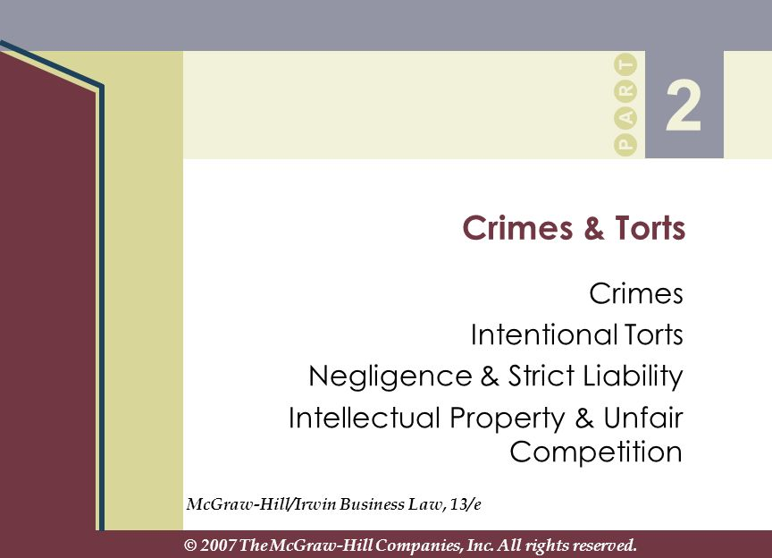 2 Crimes & Torts Crimes Intentional Torts