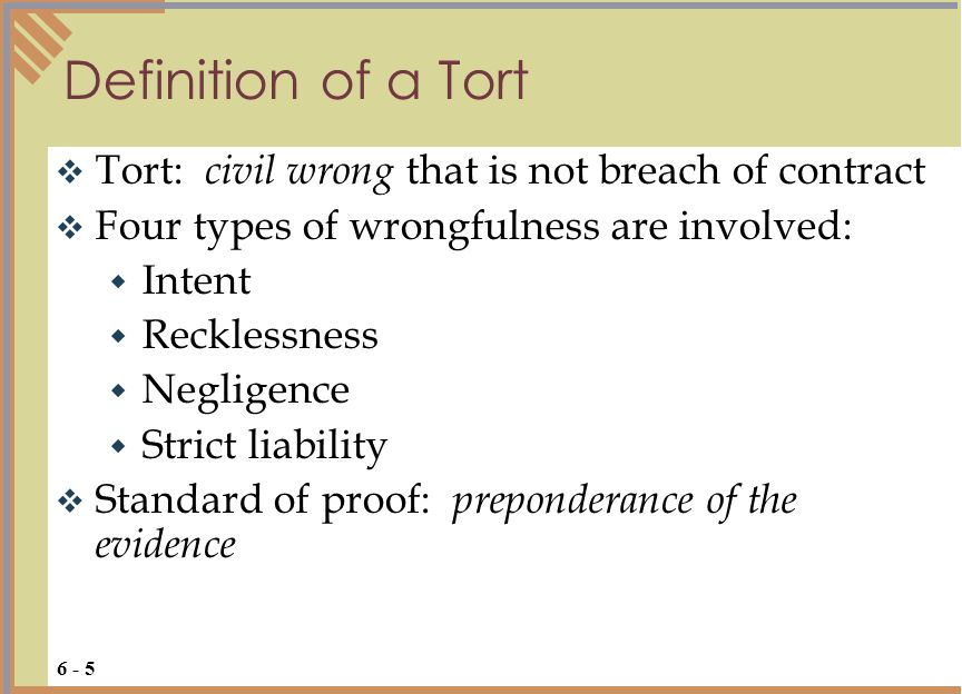Definition of a Tort Tort: civil wrong that is not breach of contract