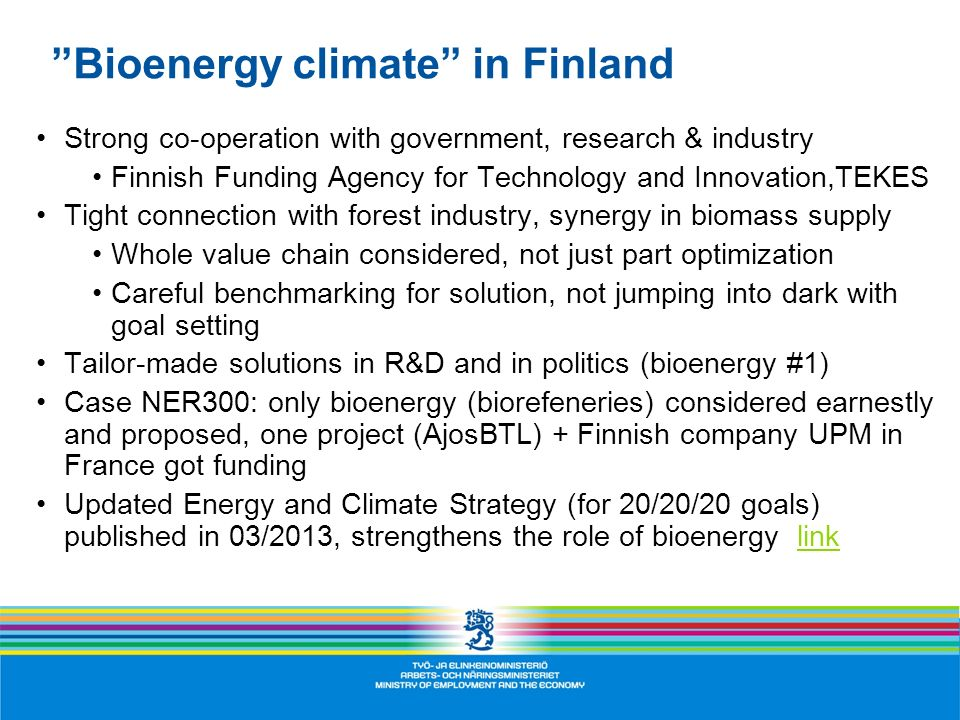 Bioenergy climate in Finland