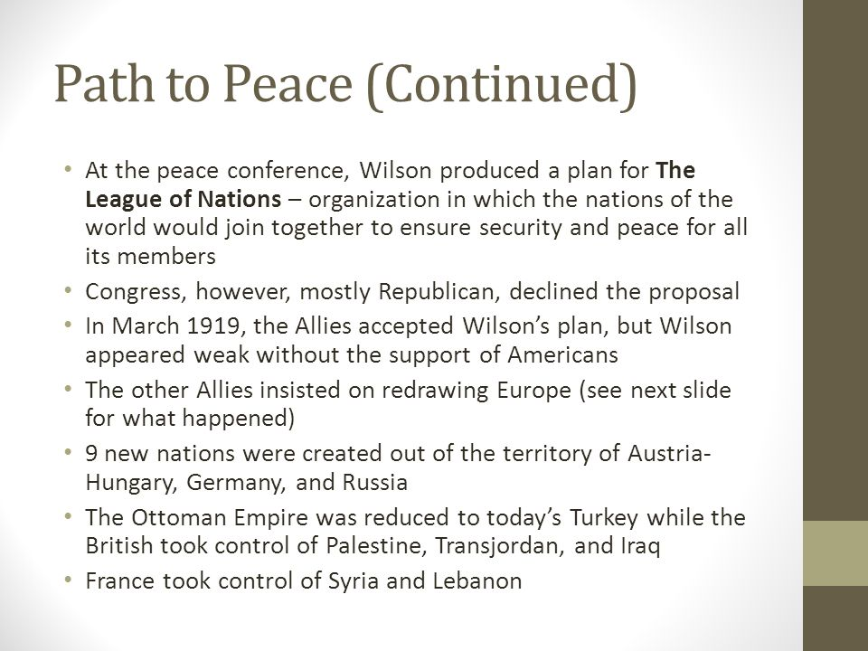 Path to Peace (Continued)
