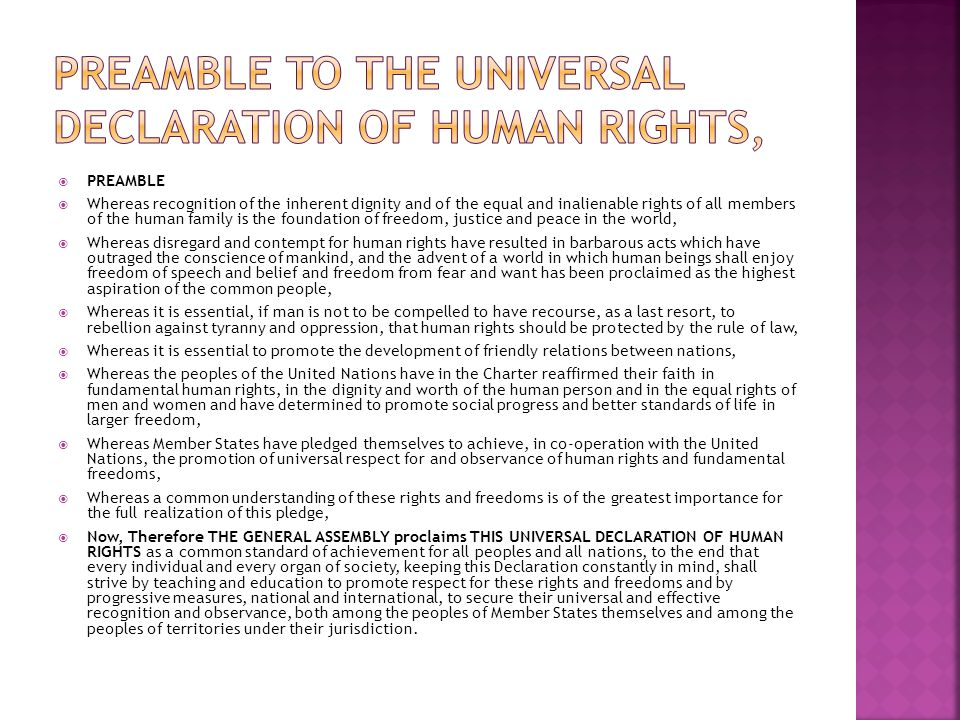Preamble to the universal Declaration of human rights,