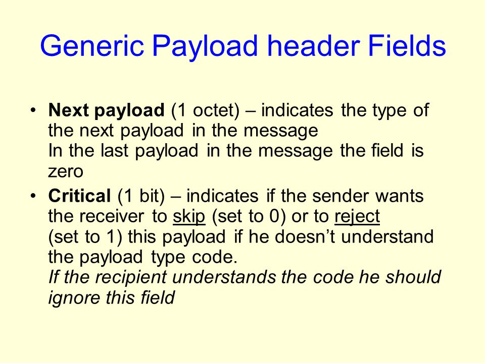 Generic Payload header Fields
