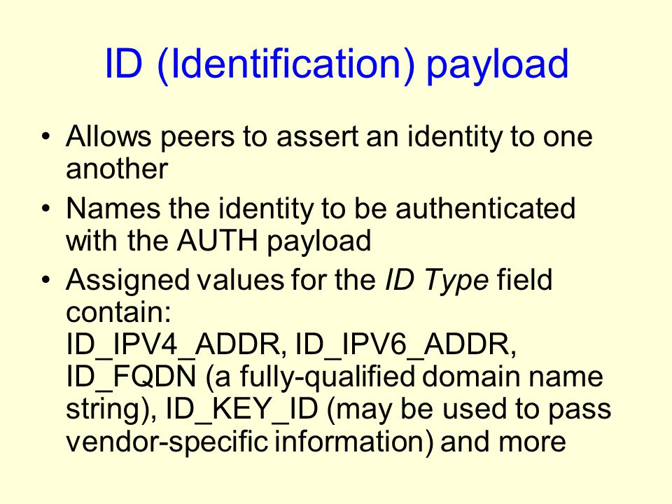 ID (Identification) payload