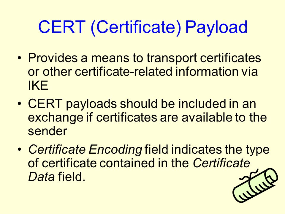 CERT (Certificate) Payload