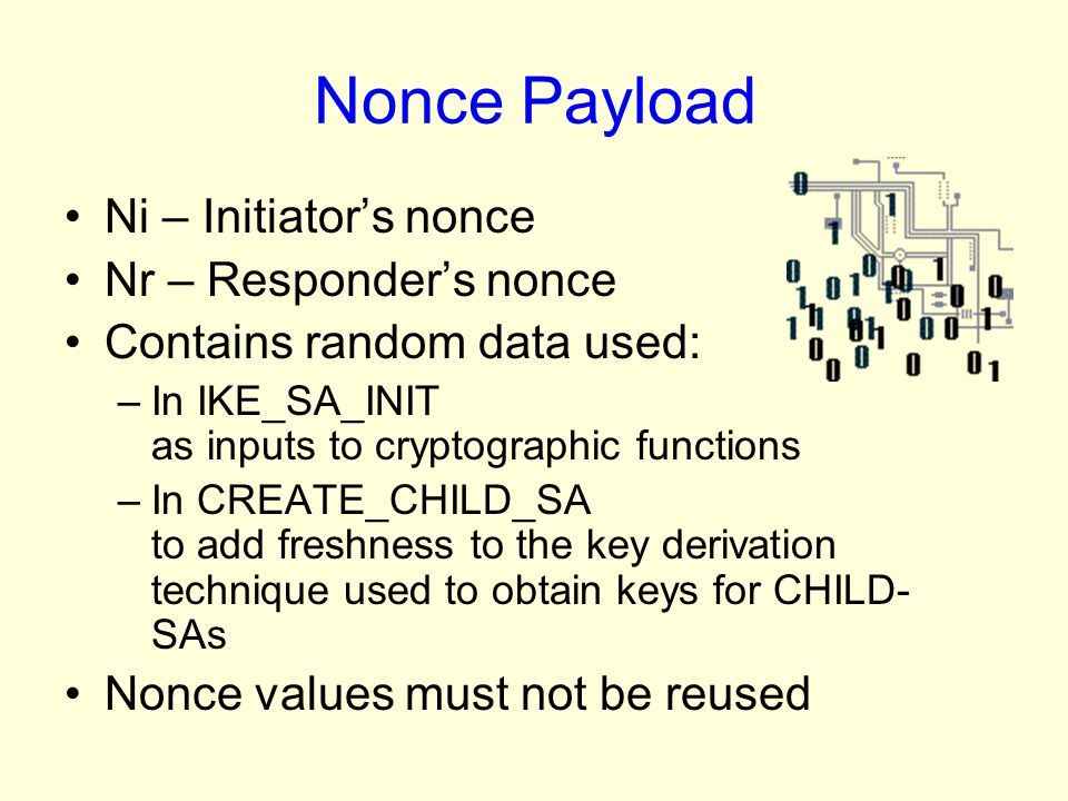 Nonce Payload Ni – Initiator's nonce Nr – Responder's nonce
