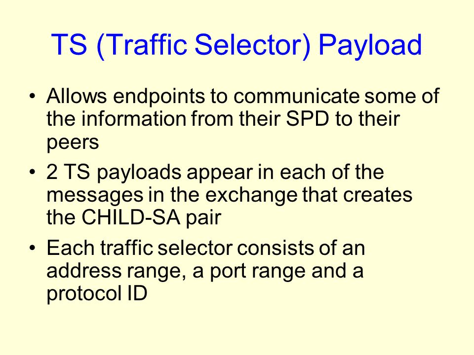 TS (Traffic Selector) Payload