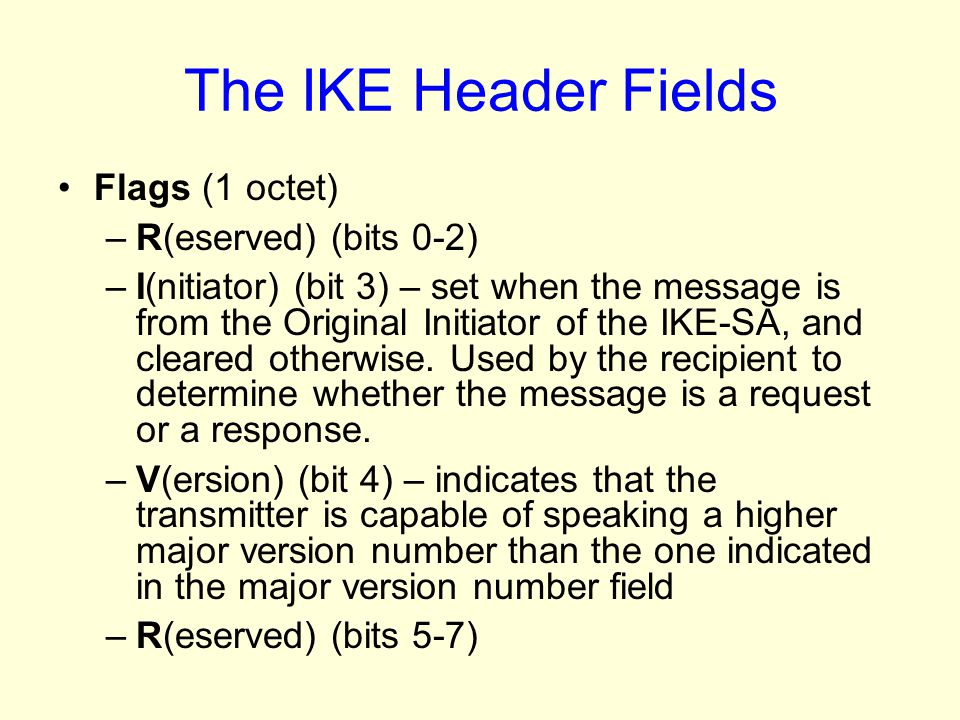 The IKE Header Fields Flags (1 octet) R(eserved) (bits 0-2)