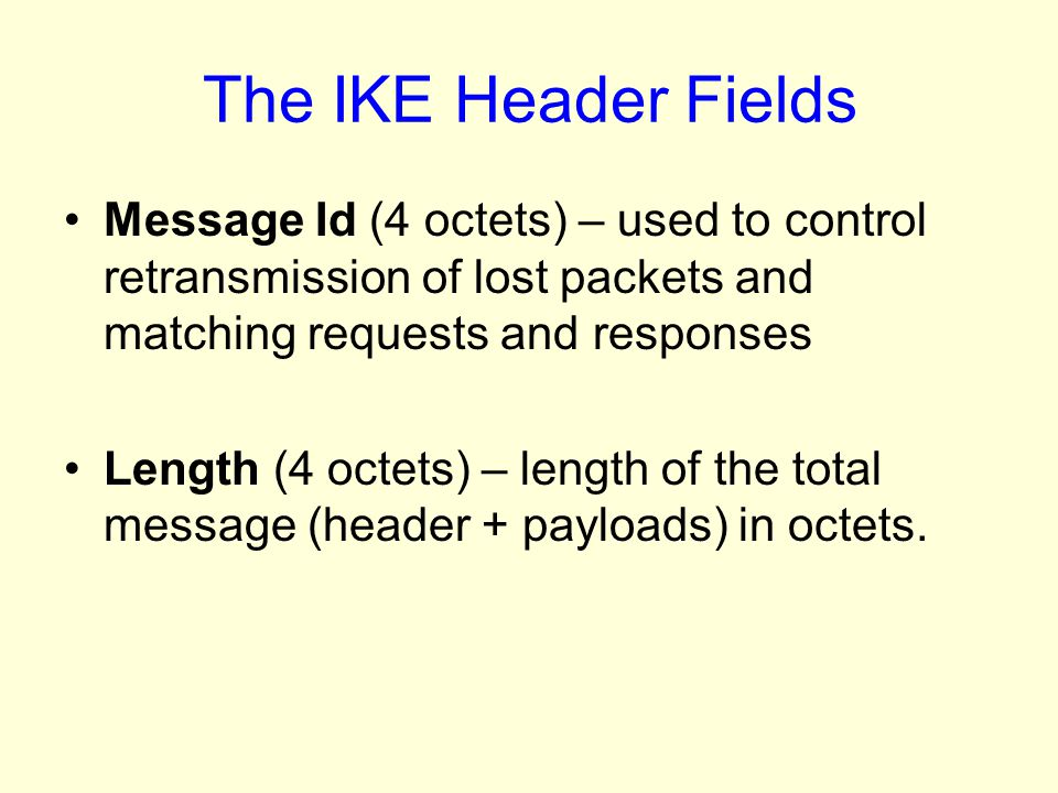 The IKE Header Fields Message Id (4 octets) – used to control retransmission of lost packets and matching requests and responses.