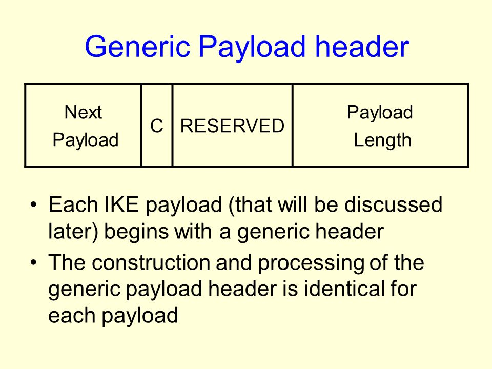 Generic Payload header