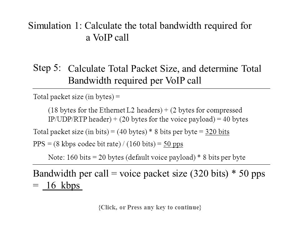 Simulation 1: Calculate the total bandwidth required for a VoIP call