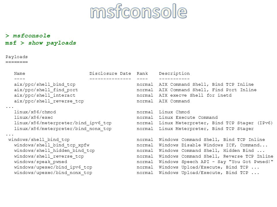 msfconsole > msfconsole - ppt video online download