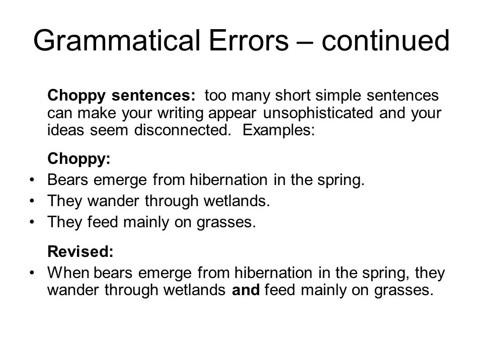 Grammatical Errors – continued