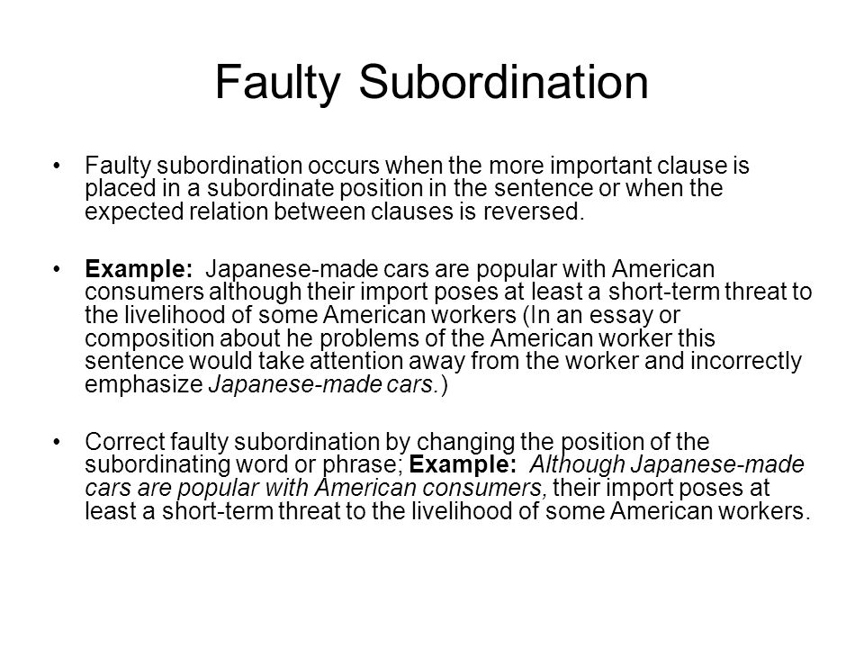 Faulty Subordination