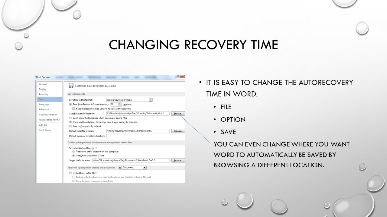 Changing recovery time
