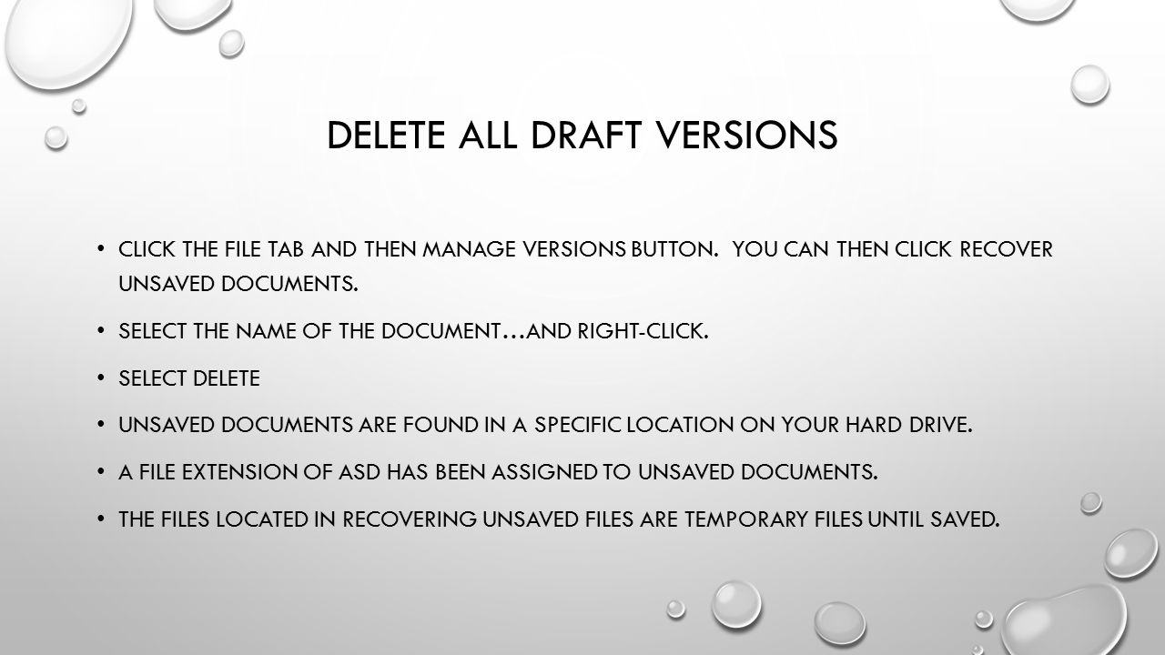 Delete all draft versions