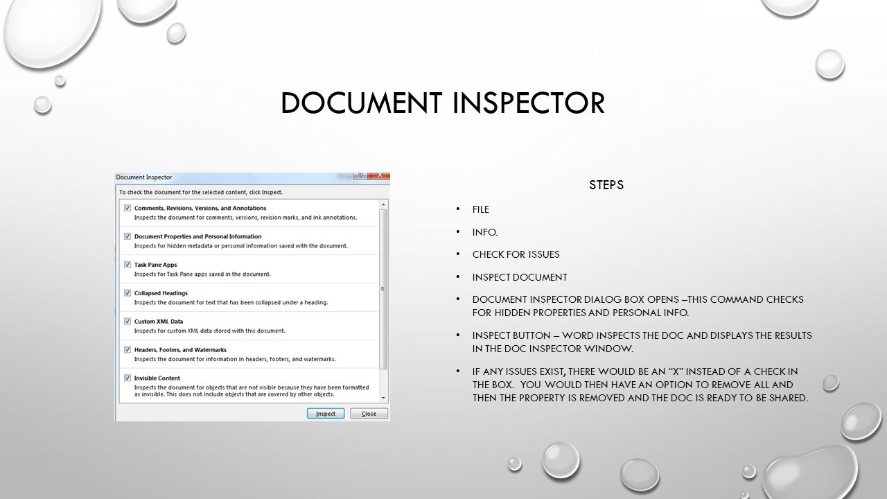 Document inspector steps File Info. Check for issues Inspect document