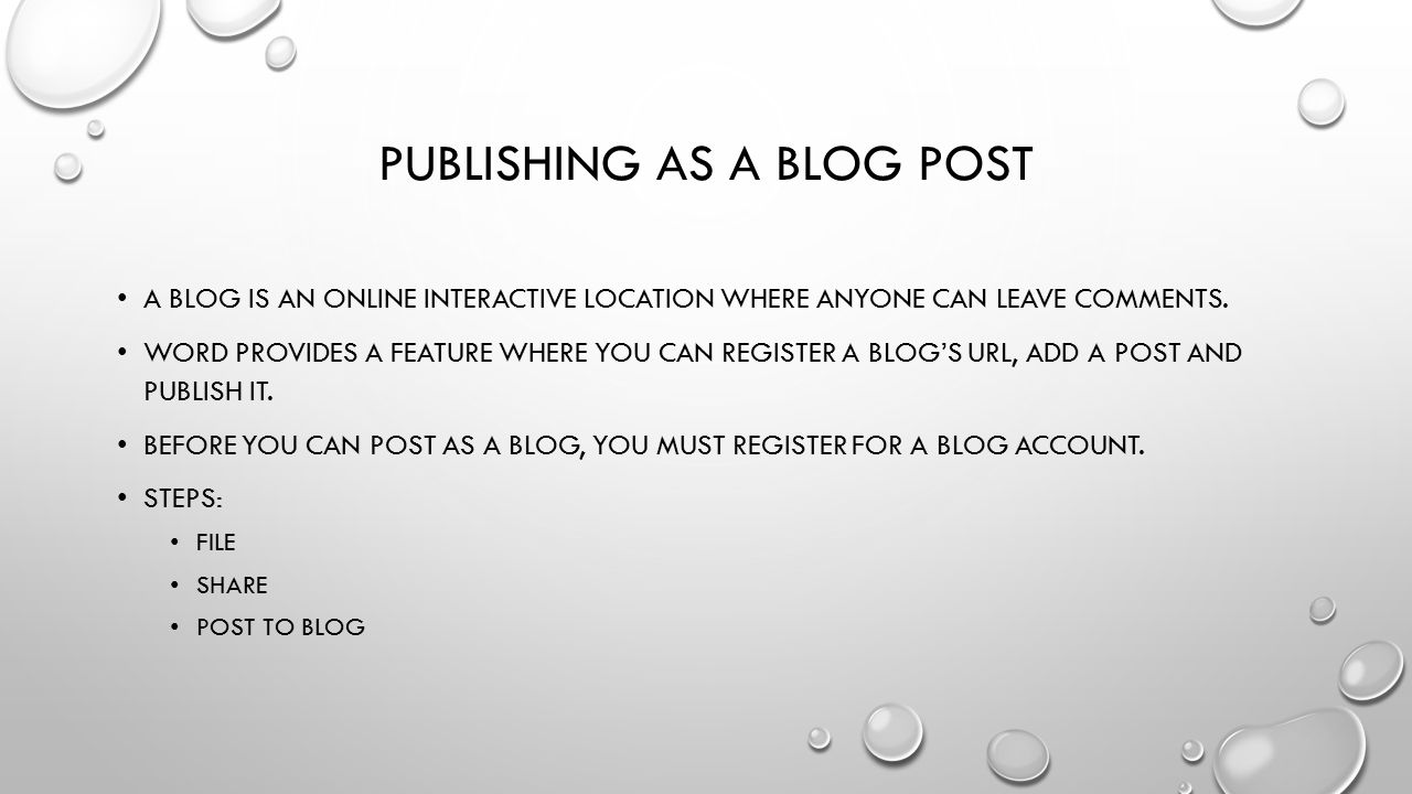 Publishing as a blog post