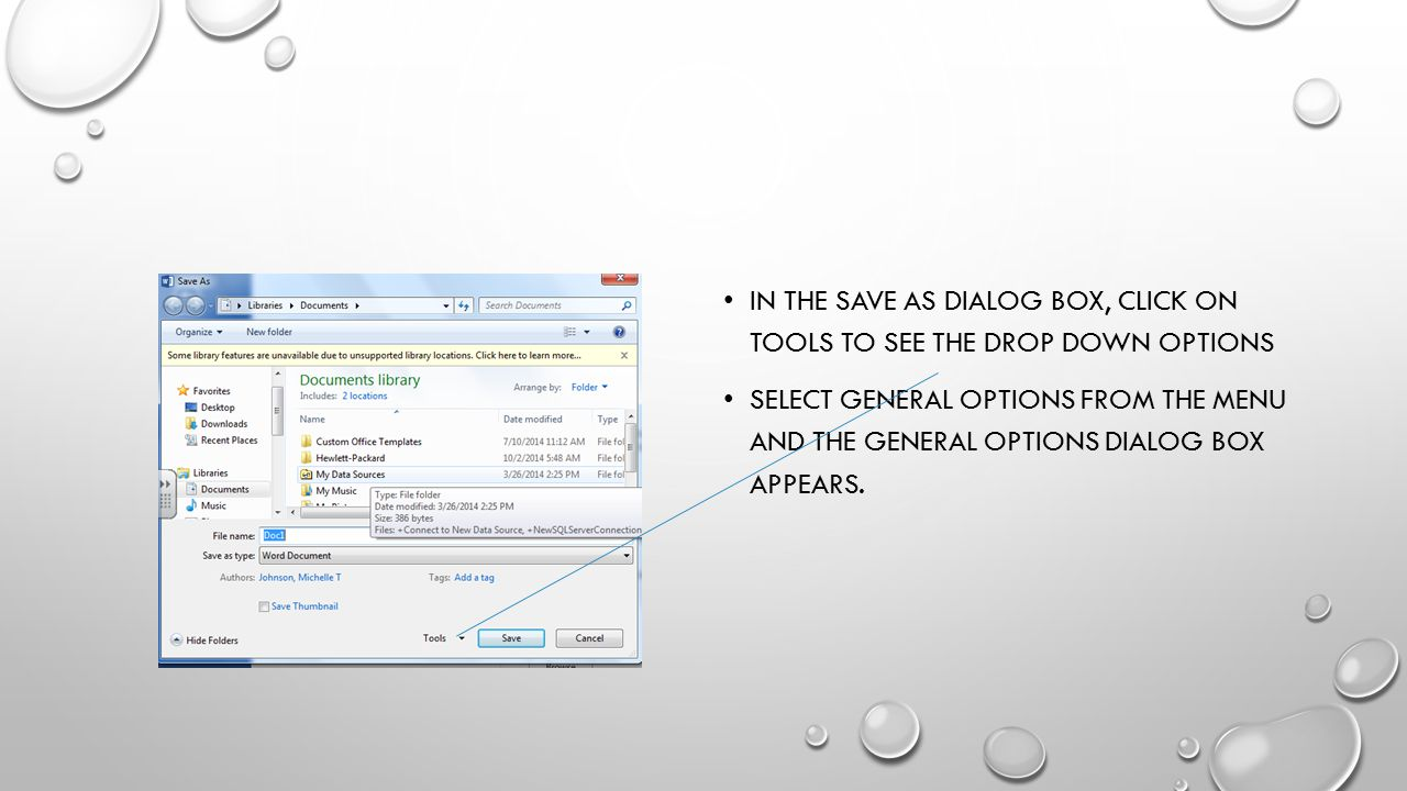 In the save as dialog box, click on Tools to see the drop down options