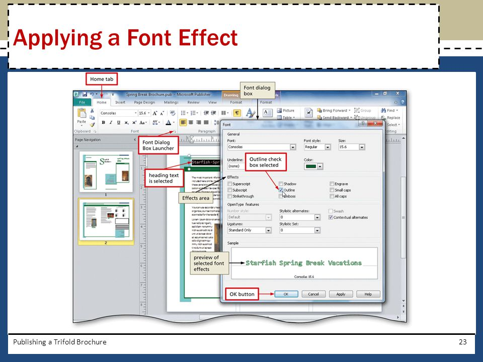 Applying a Font Effect Publishing a Trifold Brochure