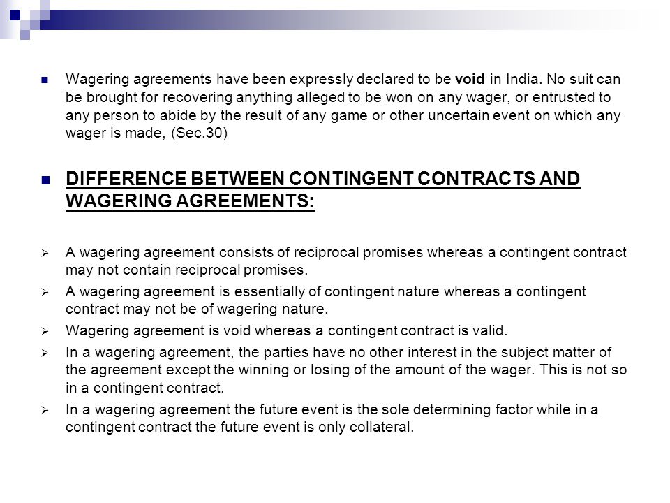 Contingent Contracts And Wagering Agreements Ppt Video Online
