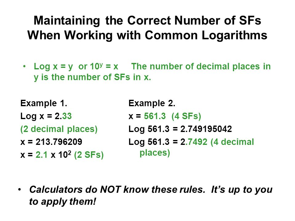 Maintaining the Correct Number of SFs When Working with Common Logarithms