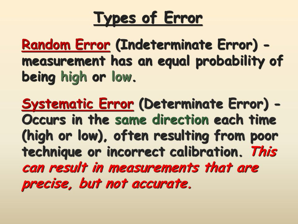 Types of Error Random Error (Indeterminate Error) - measurement has an equal probability of being high or low.