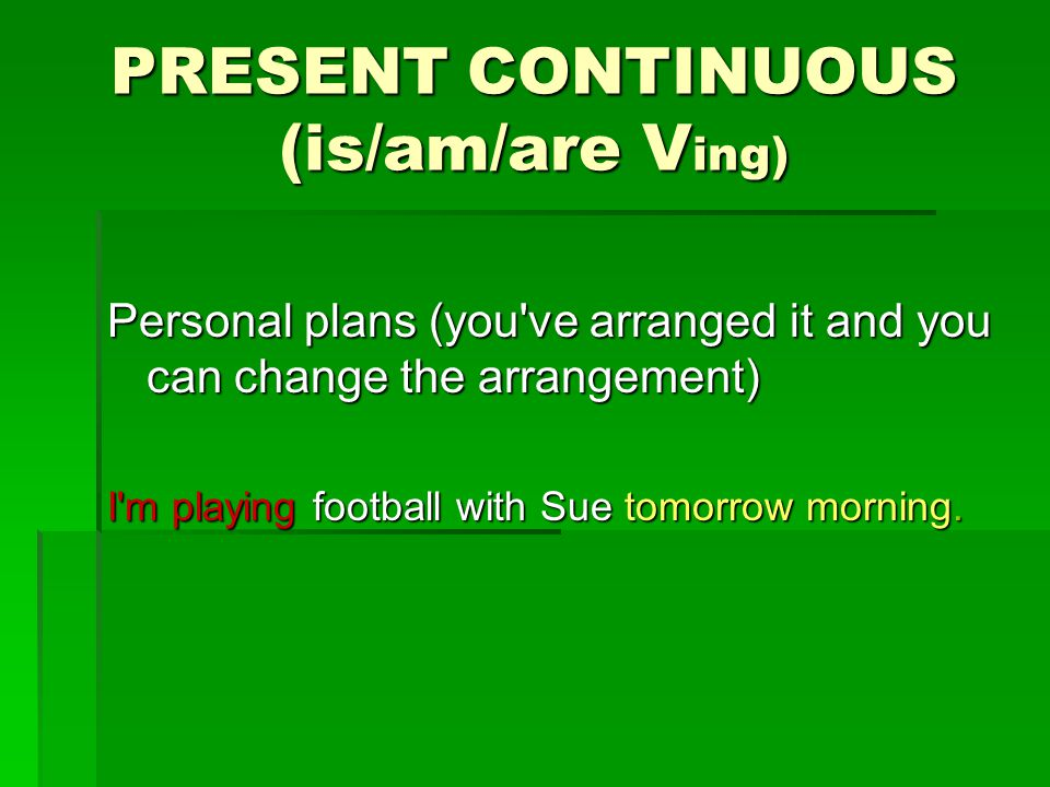 PRESENT CONTINUOUS (is/am/are Ving)