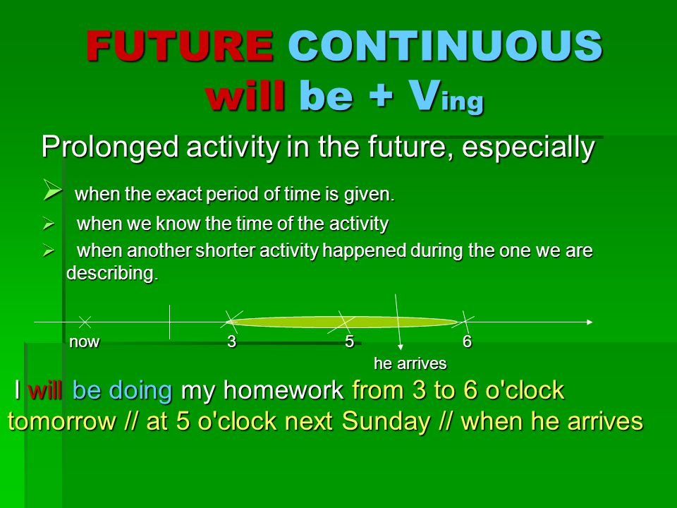 FUTURE CONTINUOUS will be + Ving