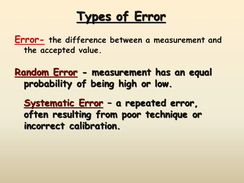 Types of Error Error- the difference between a measurement and the accepted value.