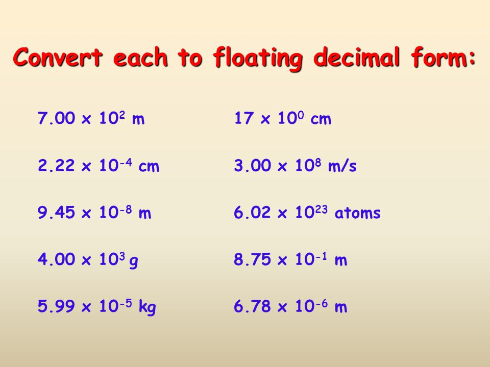 Convert each to floating decimal form: