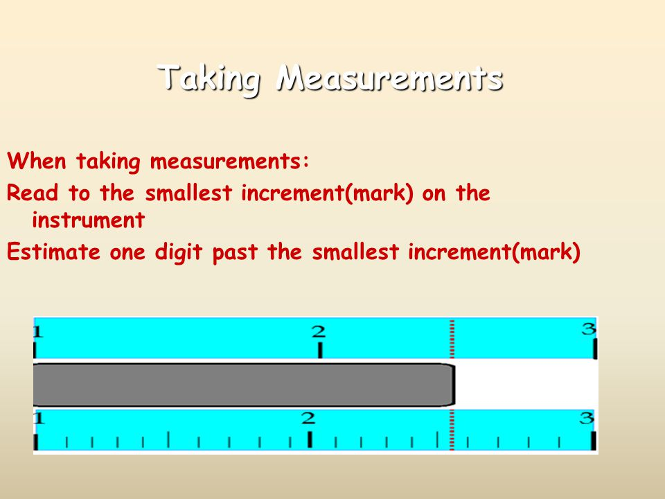 Taking Measurements When taking measurements: