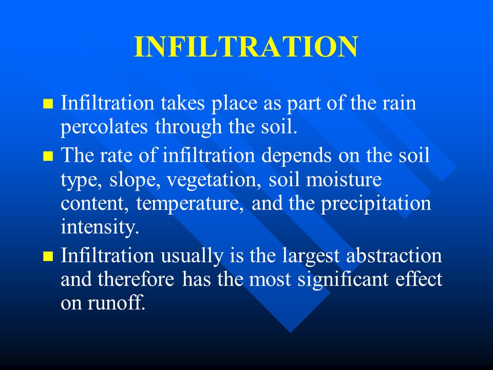 INFILTRATION Infiltration takes place as part of the rain percolates through the soil.