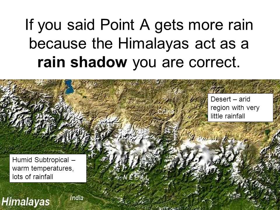 If you said Point A gets more rain because the Himalayas act as a rain shadow you are correct.