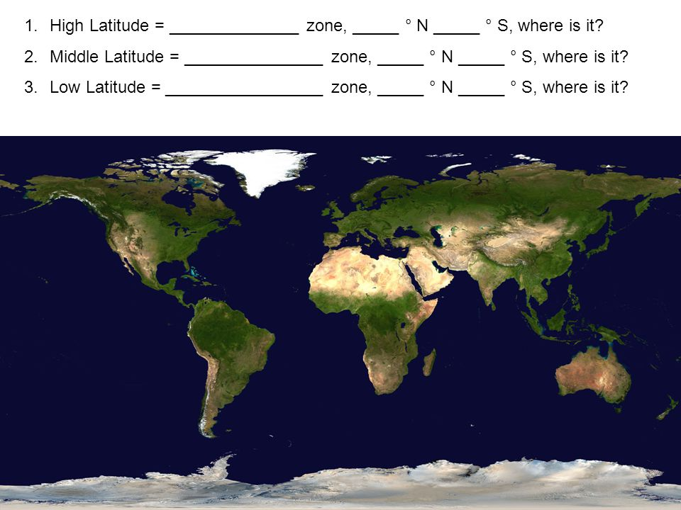 High Latitude = ______________ zone, _____ ° N _____ ° S, where is it
