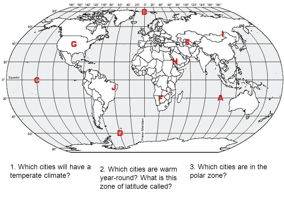 1. Which cities will have a temperate climate