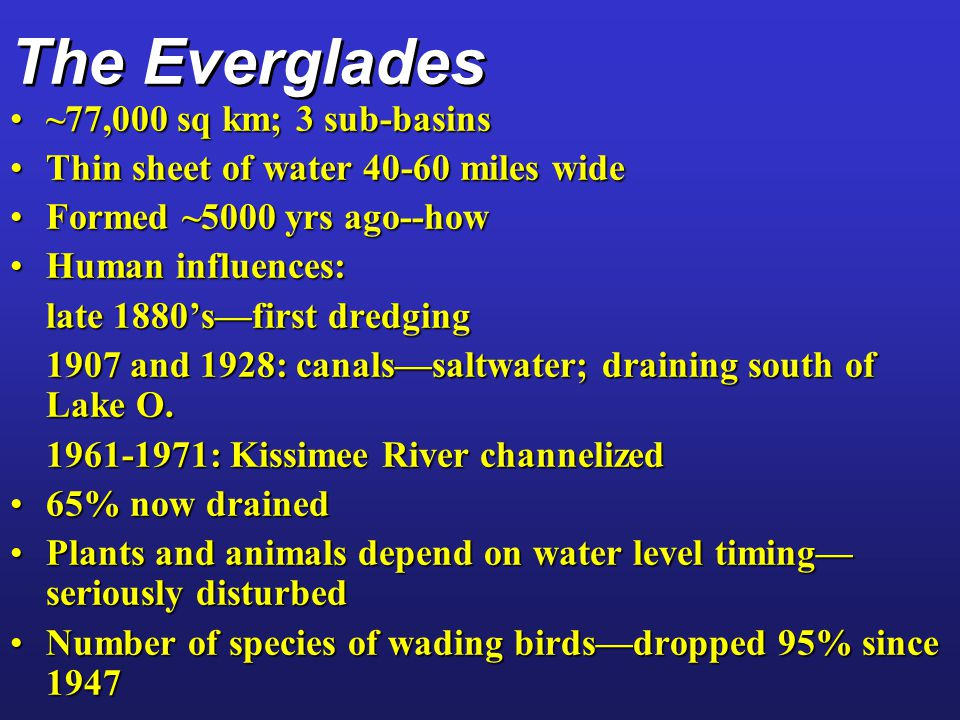 The Everglades ~77,000 sq km; 3 sub-basins