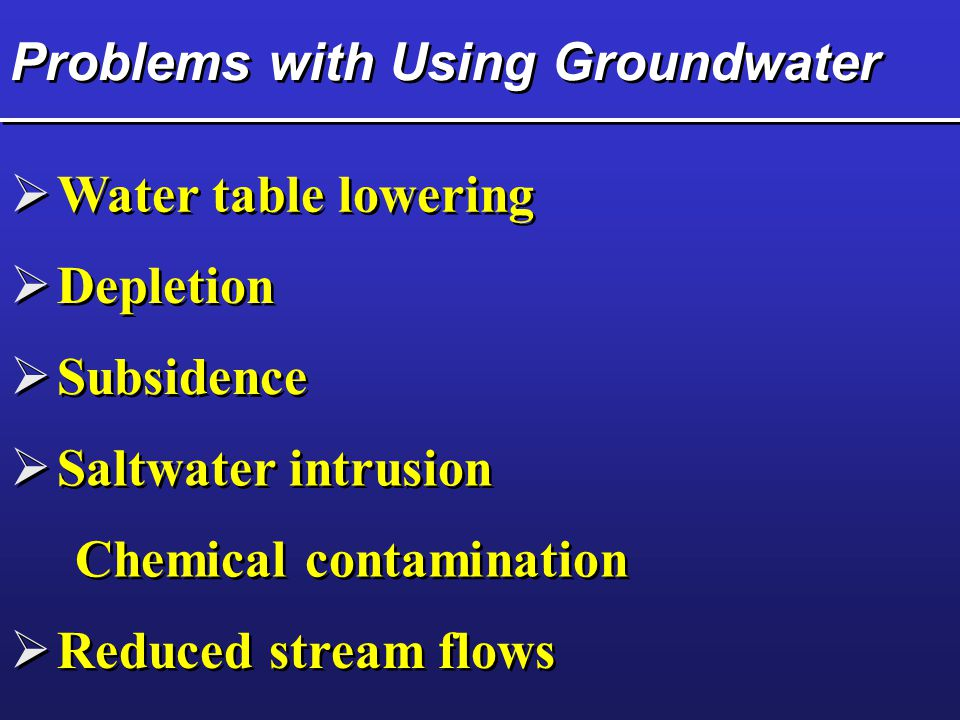 Problems with Using Groundwater