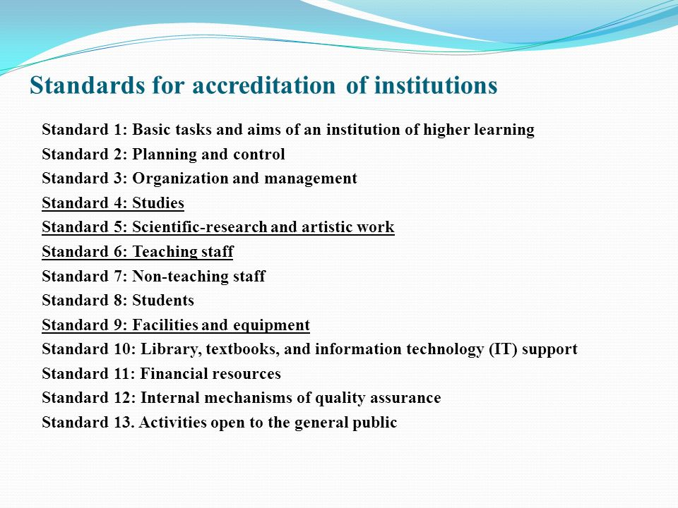 Standards for accreditation of institutions