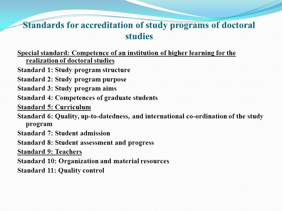 Standards for accreditation of study programs of doctoral studies