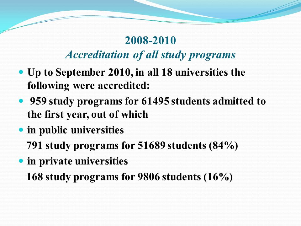 Accreditation of all study programs