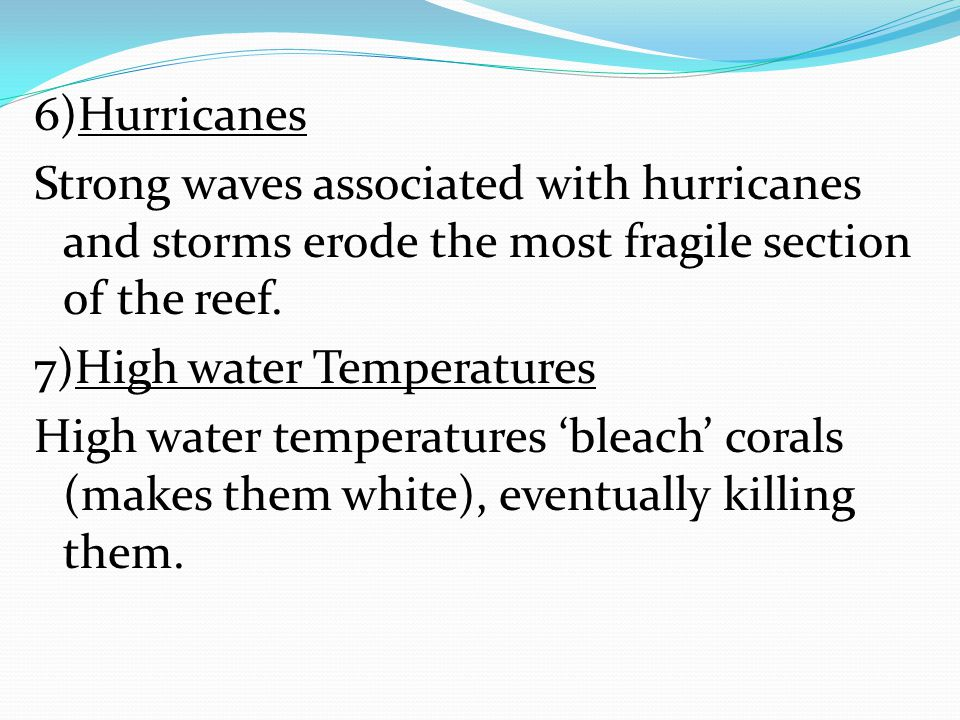 6)Hurricanes Strong waves associated with hurricanes and storms erode the most fragile section of the reef.
