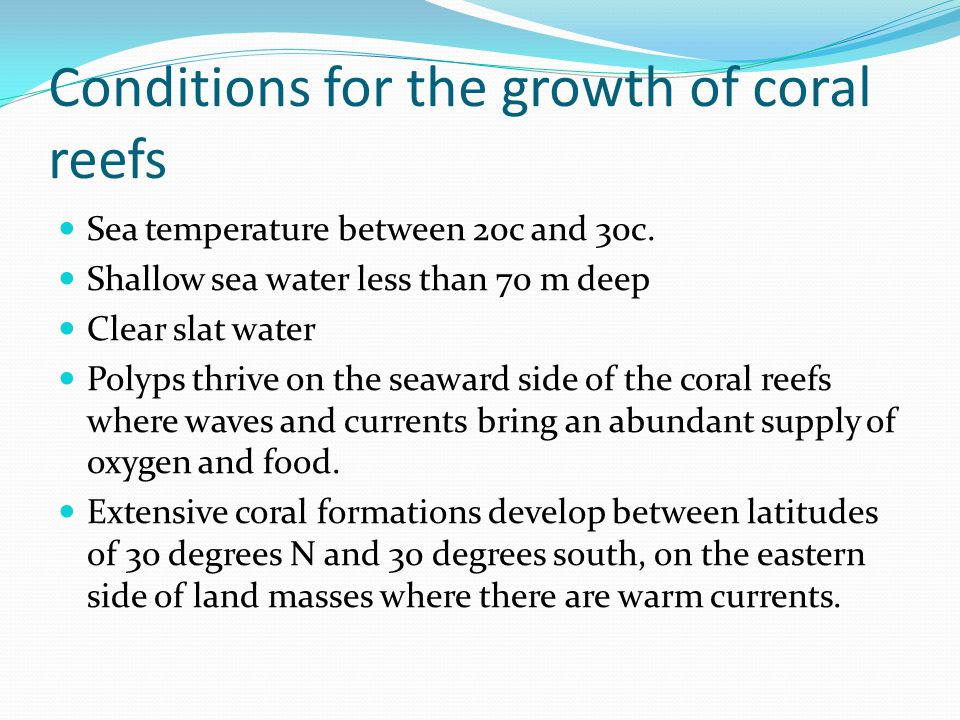 Conditions for the growth of coral reefs