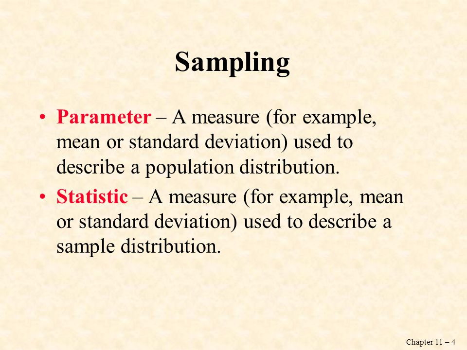 Sampling Parameter – A measure (for example, mean or standard deviation) used to describe a population distribution.