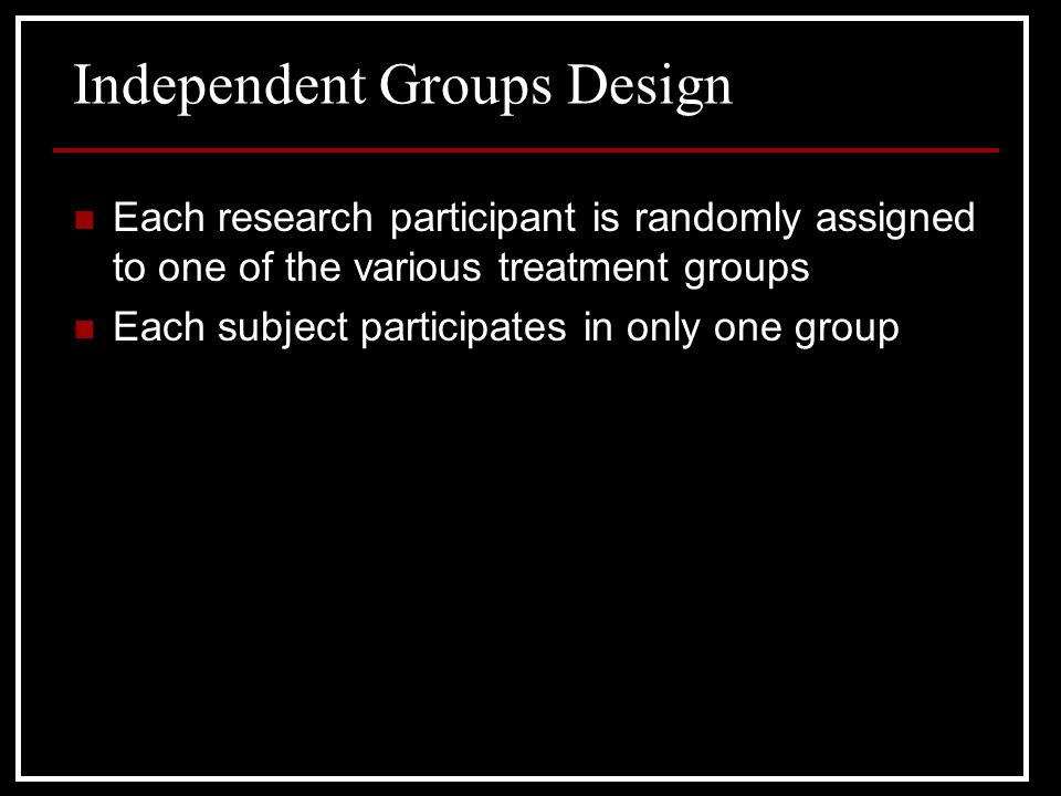 Independent Groups Design