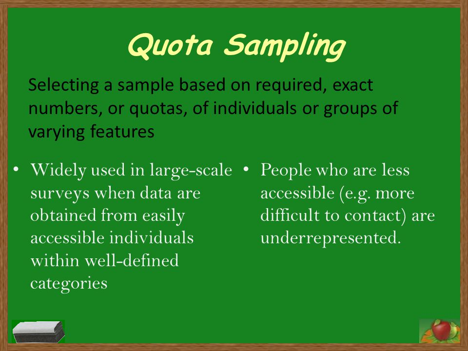 Quota Sampling Selecting a sample based on required, exact numbers, or quotas, of individuals or groups of varying features.