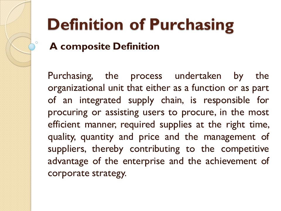 define purchasing and supply management