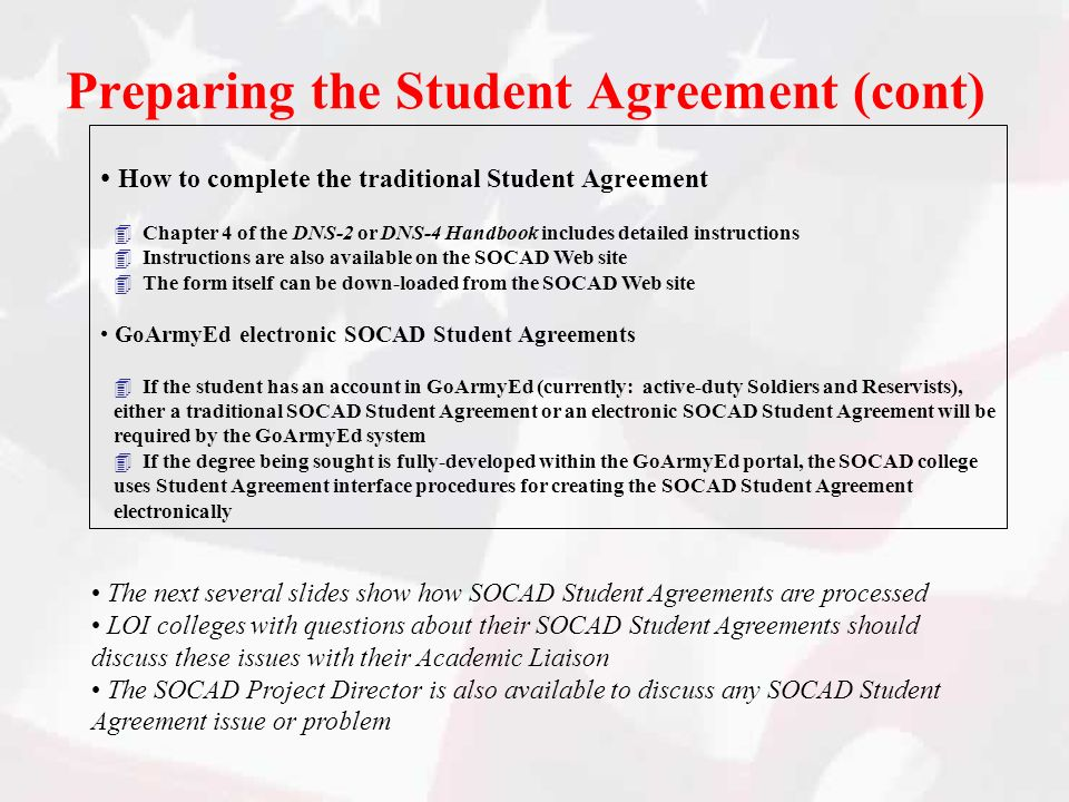 Preparing the Student Agreement (cont)