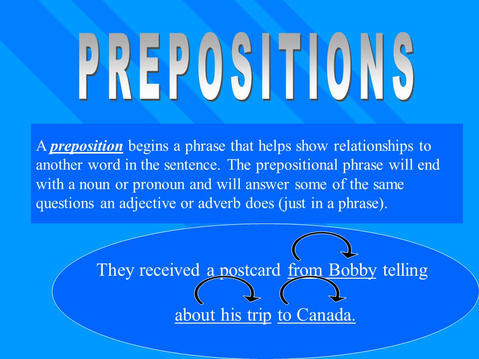 PREPOSITIONS They received a postcard from Bobby telling
