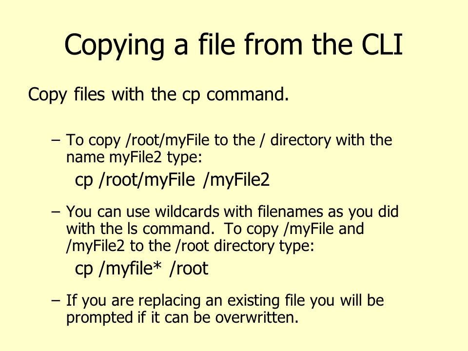 Copying a file from the CLI