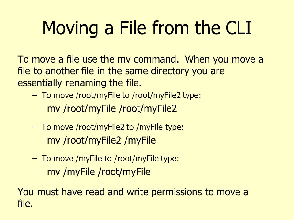 Moving a File from the CLI